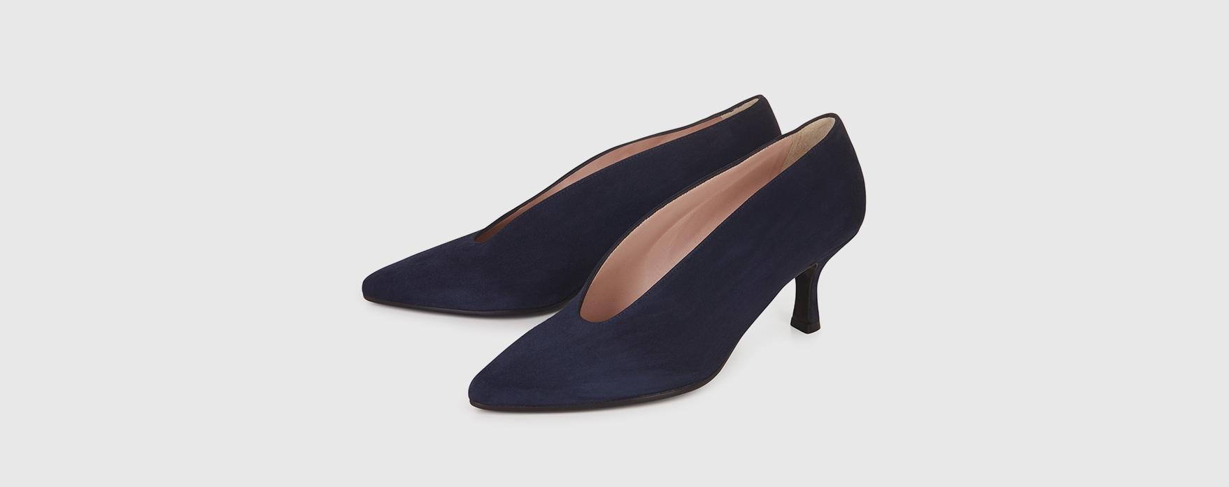 Blue Velvet Court Shoes