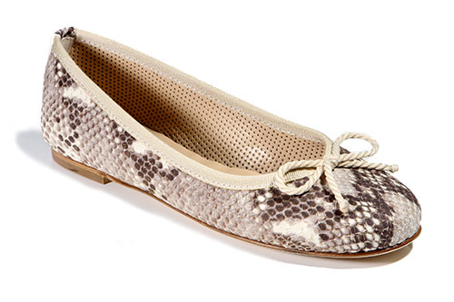Beige/brown snake print leather