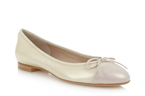Pearl cream leather with pink leather toe - 1.5cm heel