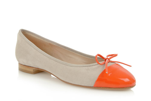 Beige suede with orange patent toe - 1.5cm heel