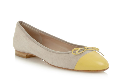 Beige suede with yellow patent toe - 1.5cm heel