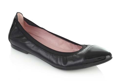Flexible rubber sole black leather