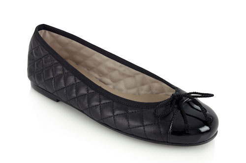 Black quilted Leather with black patent toe - 0.5cm heel