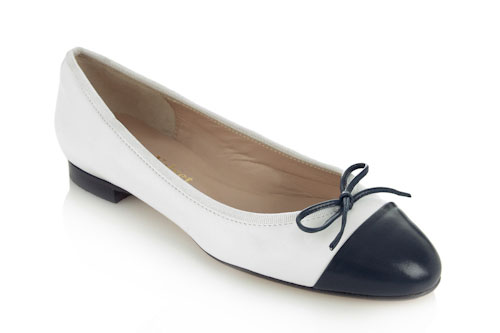 Soft white leather with black leather toe - 1.5cm heel