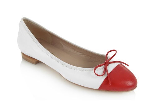 Soft white leather with red leather toe - 1.5cm heel