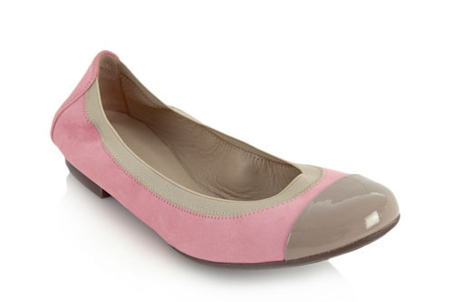 Pink suede with taupe patent toe and flexible sole - 1cm heel