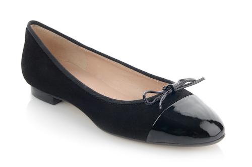 Black Suede-black patent toe cap